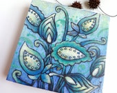 SALE Flower fantasy II artwork, mixed media original floral art, marked down 50%, acrylic, blue colors home decor, wall art, collectible art