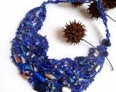 Blues IV, free form peyote stitch blue beaded unique necklace