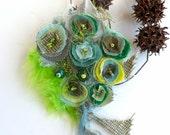 Wearable fiber art green floral pin, FANTASY XVI, fabric brooch, statement, bohemian, Coachella, romantic, floral, pin-up corsage