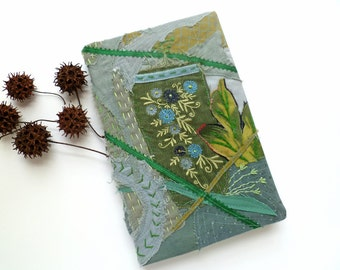Fiber art collage green journal / sketchbook, MIDSUMMER NIGHT DREAM, free hand embroidery, fantasy, blank journal, eco-friendly