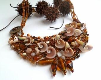 Found on the beach III necklace, beaded wearable art bib shell necklace, free form peyote stitch, romantic, statement, Coachella, bohemian