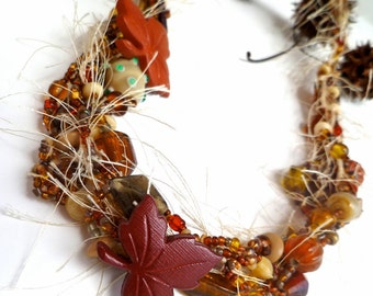 Fall aster necklace, wearable art brown beaded necklace, brown, romantic, Coachella, bohemian, statement, choker