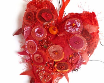 Large fiber collage art red ornament, CRAZY HEART, marked down 50%, bead embroidery, floral, home decor, eco-friendly, collectible