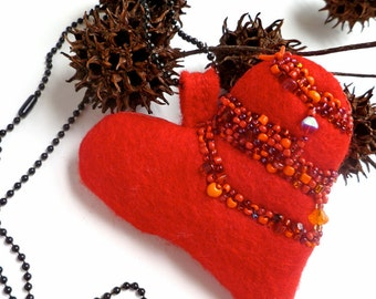 Valentine I necklace, wearable fiber art, eco-friendly heart necklace, bead embroidery, statement, bohemian, Coachella, red felt pendant