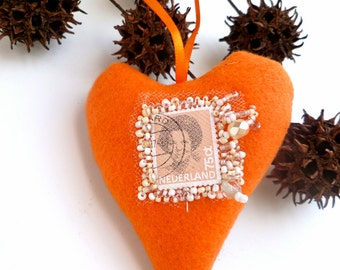 Queen Beatrix heart ornament, fiber art orange heart felt ornament, home decor, felt heart, bead embroidery