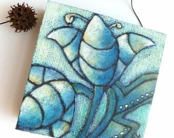 SALE Flower fantasy VI artwork, original artwork, marked down 50%,  cradled wood panel, home decor, floral
