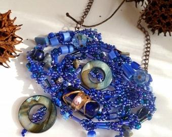 SALE Blues VIII necklace, beaded peyote stitch blue necklace, romantic, Coachella, marked down 50%