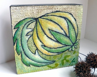 SALE Green mixed media original on wood panel, marked down 50%, home decor, acrylic on burlap, collectible art,