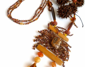 SALE Turtle dreams necklace, peyote stitch wearable art necklace, marked down 50%, turtle, brown, bohemian, adjustable, Coachella, statement
