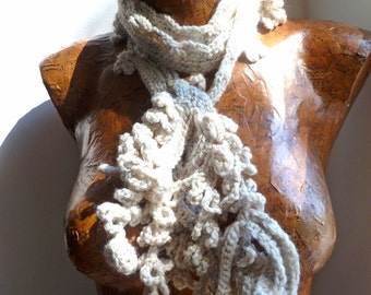 Fiber art long crotchet scarf, VARIEGATED, beige, statement, romantic, bohemian, Coachella