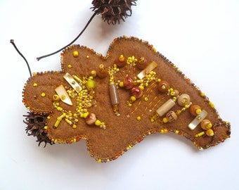 SALE Quercus IV fiber art felt large pin, marked down 50% bead embroidery brooch, bead embroidery, hand stitched, brown and yellow, leaf
