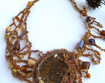 Ammonite necklace, free form peyote stitch wearable art brown necklace, fossil cabochon, beadwork, statement necklace, Coachella, bohemian