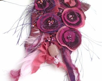 Fiber art purple pin, FANTASY XIV, fabric collage, floral, bohemian, Coachella, romantic, eco-friendly, burlesque, hand stitched