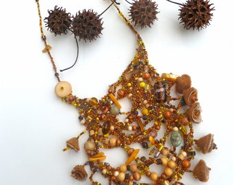 Free form peyote stitch beaded necklace in brown tones, FOREST in FALL VIII, felt, bohemian, Coachella, long bib necklace, romantic
