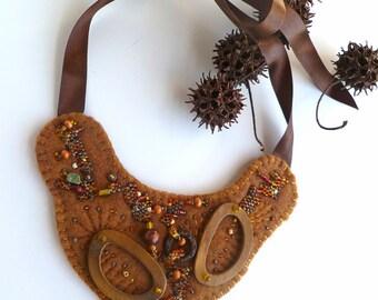SALE Brown fantasy necklace, fiber art bib felt bead embroidery necklace, statement, bohemian, Coachella, eco-friendly, marked down 50%