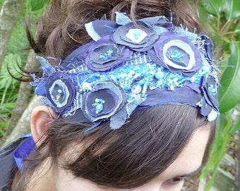 Something blue sash waistband or headband, wearable fiber art, fabric collage, bohemian, bead embroidery, Coachella, statement