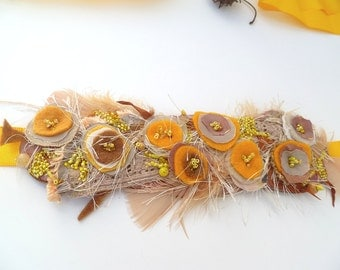 Something yellow sash waistband headband, wearable fiber art, fabric collage bohemian, Coachella, statement, hand stitched