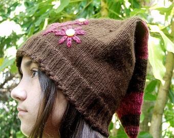 SALE Elf hat, wearable art knitted floral hat, marked down 50%, fiber art, floral motif, bohemian, romantic