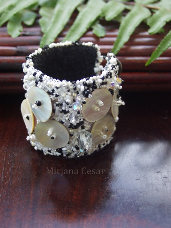 Fragments III cuff, wearable art cuff, bead embroidery black and white beaded hand stitched bohemian, Coachella bracelet, romantic statement