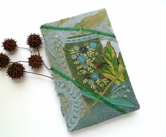 Fiber art collage green journal / sketchbook, MIDSUMMER NIGHT DREAM, free hand embroidery, fantasy, blank journal, eco-friendly