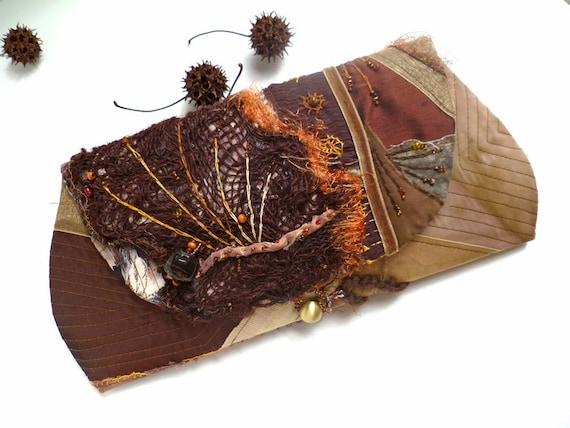 Brown fantasy, unique fiber art autumn clutch