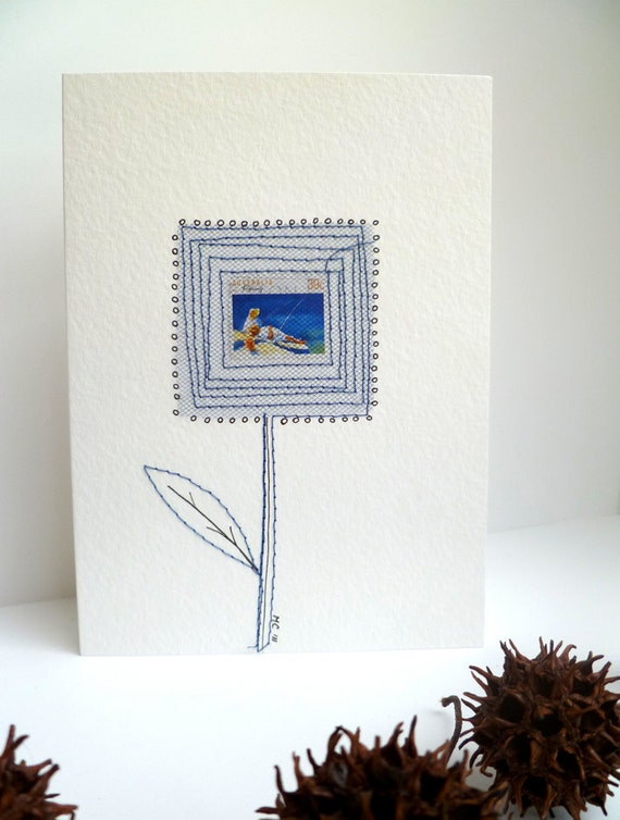 Fishing, unique mixed media art card