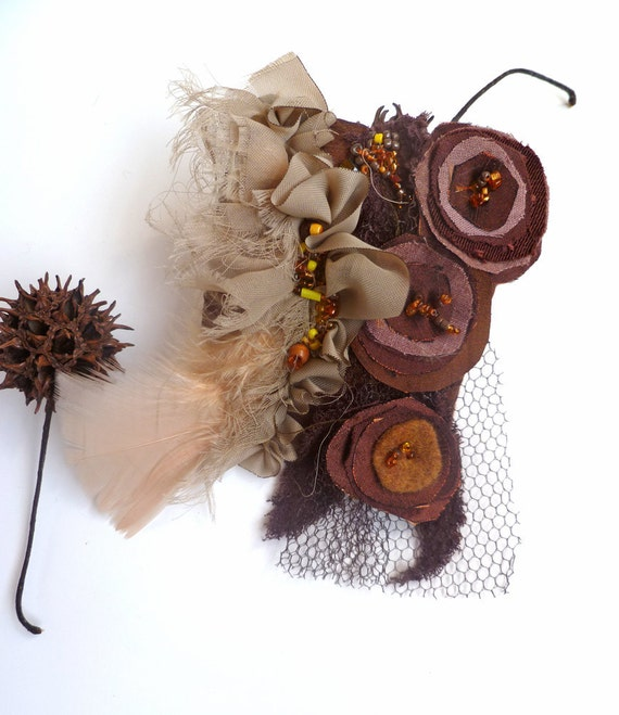 Fantasy XI pin, fiber art brown brooch, wearable art, floral brooch, bead embroidery, fabric collage, bohemian, pin-on corsage