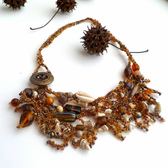 Mixed media necklace in brown tones, FOUND on the BEACH IV, choker, beadwork, romantic, statement, Coachella, bohemian, mixed beads