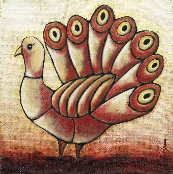 SALE Fowl VI, mixed media original art on cradled wood panel