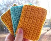 ECO TAWASHI crocheted acrylic scrubbie  eco friendly  set of three  COLOR I