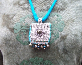 Necklace Hemp Wool  and  Vintage Finds ROMA   with felted Chain