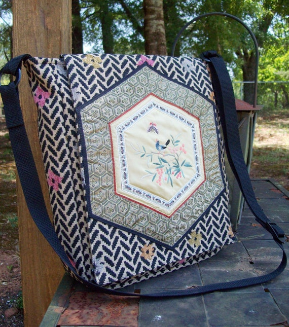 COUPON CODE SALE  Messenger bag with a touch of Asian Class, an upcycled vintage doily and an Adjustable Strap