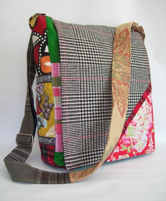 Messenger Bag  patchwork colorful one of a kind plenty of pockets and adjustable strap