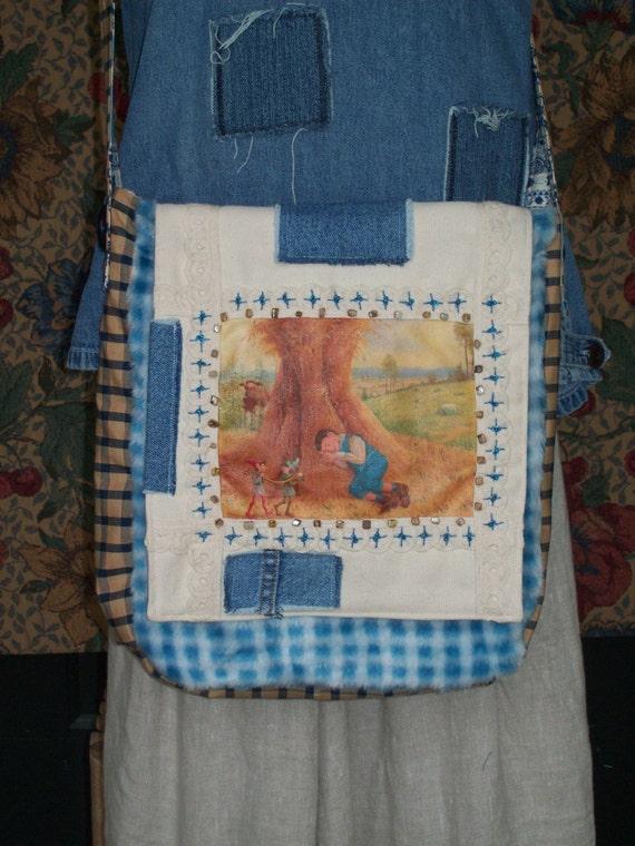 COUPON CODE SALE Messenger bag little boy blue