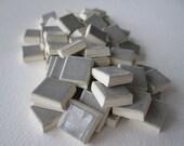 "Mosaic Tile, Pearl, 3/8"" Squares Qty 120, Handmade Ceramic Mosaic Tile"