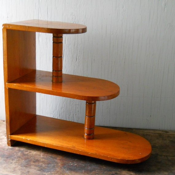 Table Book Case 1950's Mid Century Modern Side Table Book Shelf