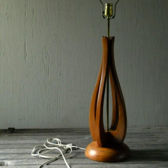 Large Sculptural Vintage Danish Modern Wood Lamp