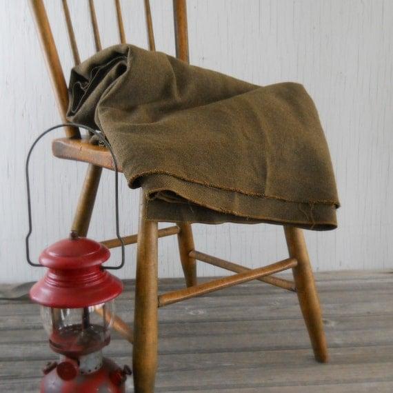 Vintage Green Wool Army Blanket