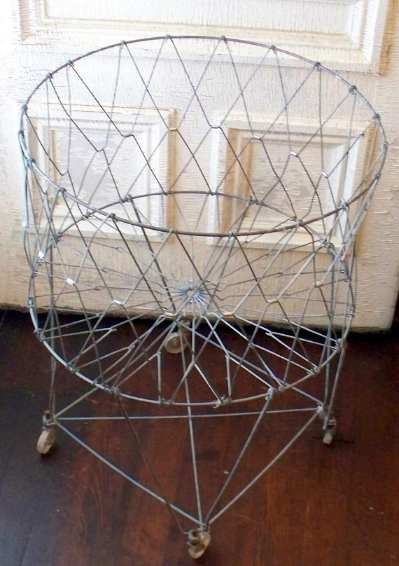 Vintage Folding Rolling Wire Laundry Basket