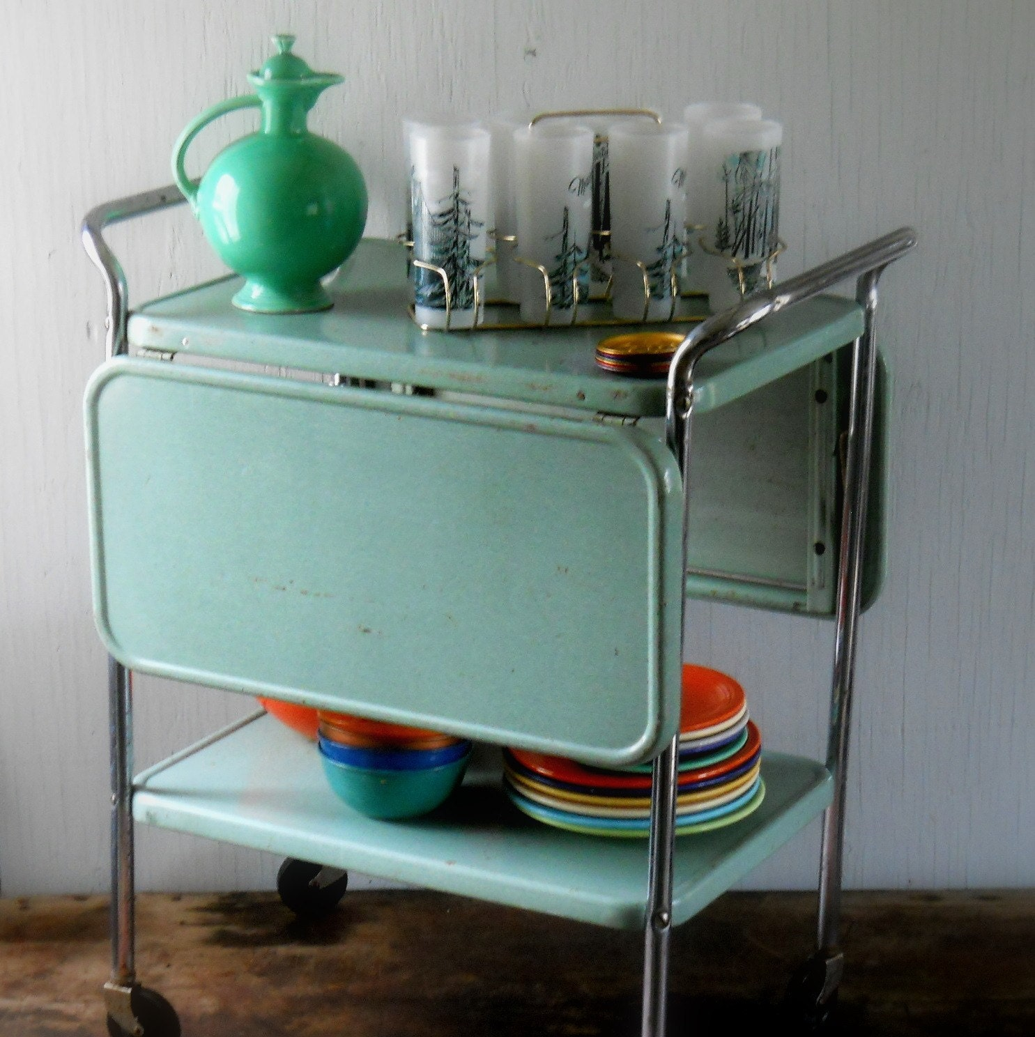 Vintage Rolling Metal Cosco Kitchen Cart