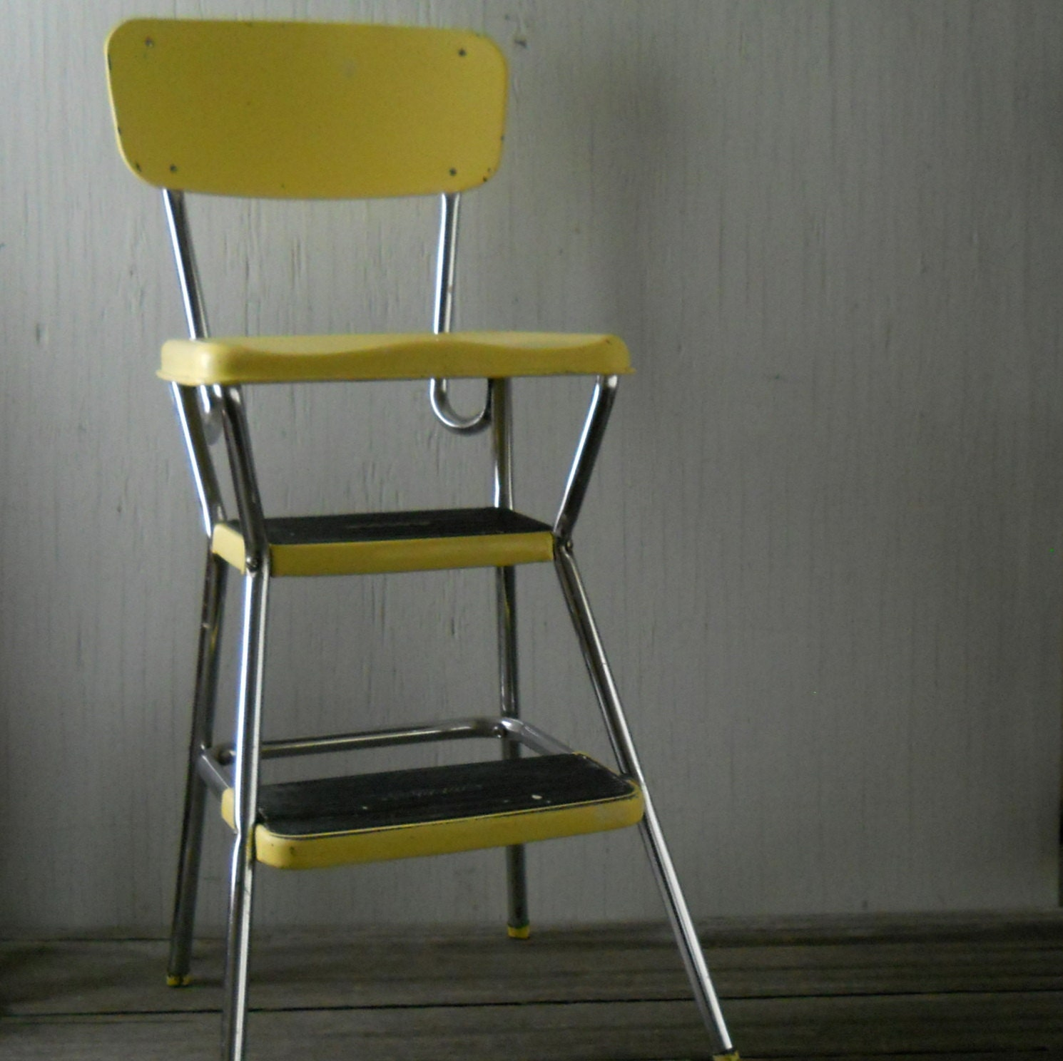 Cosco step stool chair -  Vintage Yellow Cosco Step Stool Zoom