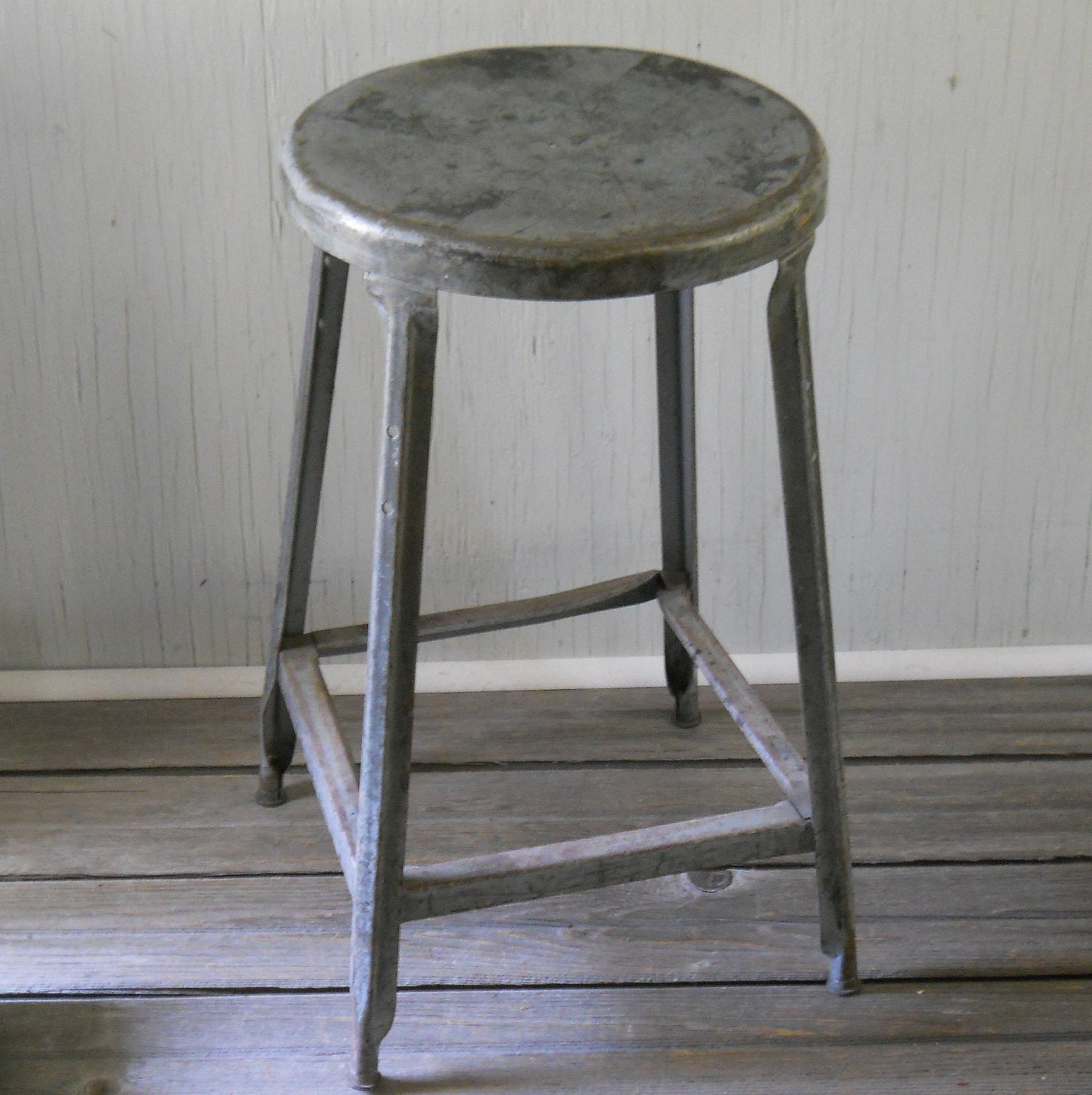 Vintage Industrial Factory Metal Stool