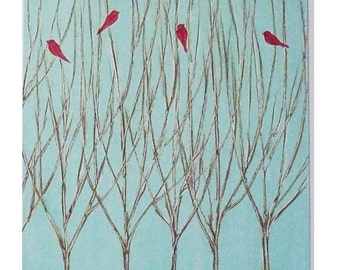 Red Birds and Winter - painting of red birds