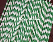 Paper Straws-  Green Striped- Set of 20 and Printable DIY Straw Toppers