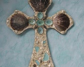 Original Seashell Cross - Black Scallops and Aqua Limpets