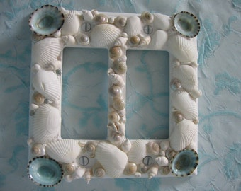 Seashell Double Rocker Plate Cover -White and Aqua