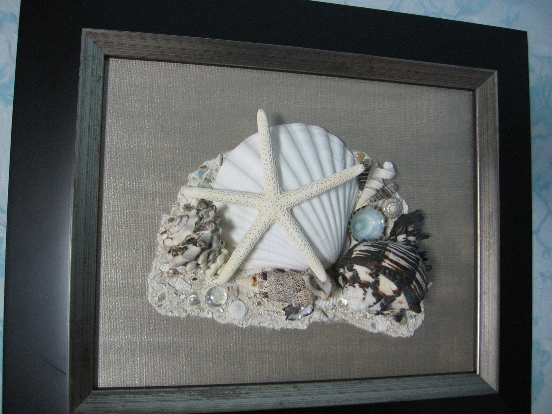 Original Framed Seashell Art Black Frame With Bronze Canvas