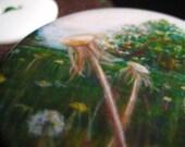 Dandelion Landscape Original Painting Repro Pocket Mirror and Pouch
