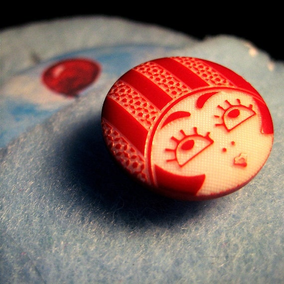 Red Balloon in Sky Pocket Mirror with Pouch