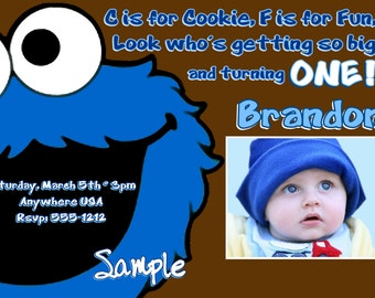 Cookie Monster Birthday Invitations, Digital Printable File